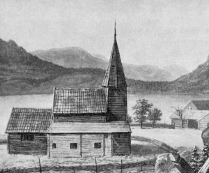Gamlekyrkja på Hafslo slik ho såg ut kring 1860